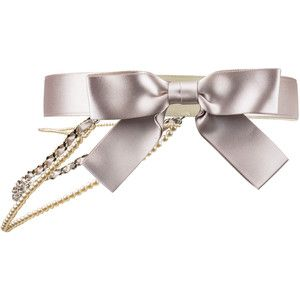 Pre-owned Chanel Satin Bow Pearl Chain Belt