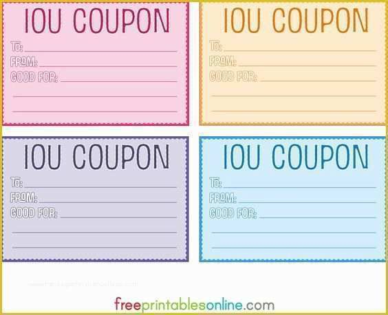 Free Printable Coupon Templates Of Colorful Free Printable Iou