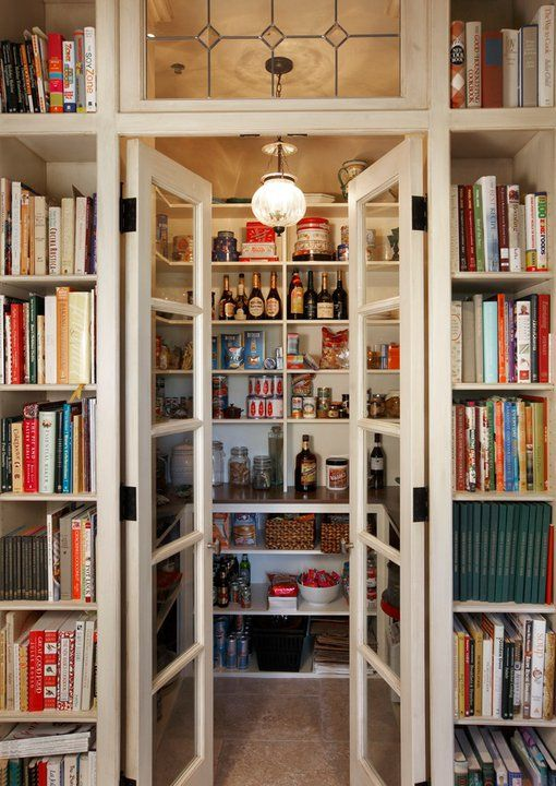 It's a library pantry! With glass doors! And a transom!