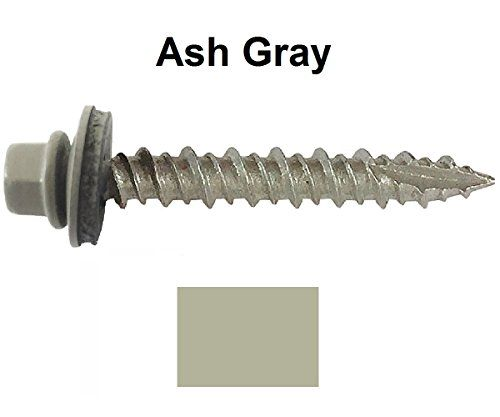 Metal Roofing Screws 250 10 X 1i Ash Gray Hex Head Sheet Metal Roof Screw Self Starting Metal To Wood Sidi Sheet Metal Roofing Metal Roof Roofing Screws