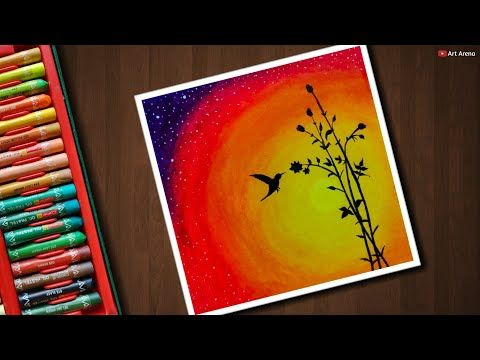 Easy Bird Sunset Scenery Drawing With Oil Pastels Step By Step