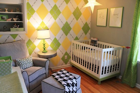 Argyle accent wall in this #babyboy nursery: Nursery Idea, Argyle Wall, Argyle Accent, Kids Room, Argyle Nursery, Baby Rooms, Accent Walls, Boy Room