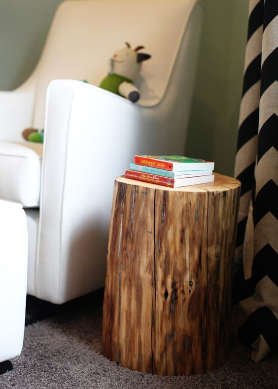 Tree Stump from @west elm - perfect touch in this modern rustic nursery! #nursery #nurserydecor