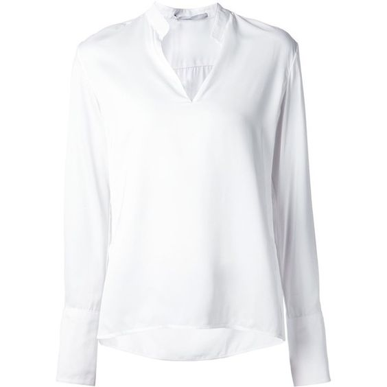 Rosetta Getty Band Collar Blouse (11.063.995 IDR) ❤ liked on Polyvore featuring tops, blouses, white, white tops and white blouse