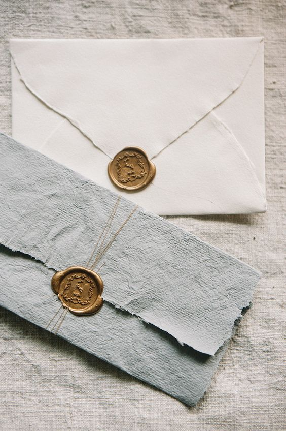 Gold/wax seal with rag paper