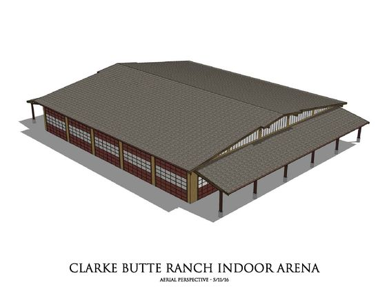 Clarke Butte Ranch indoor arena - design by Equine Facility Design