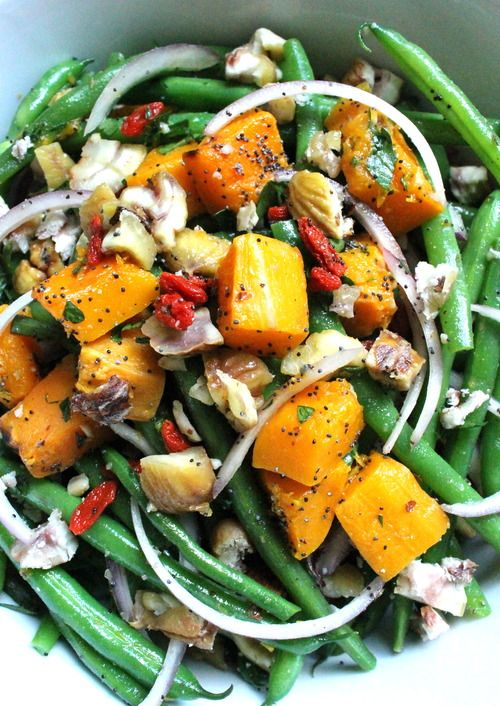 green beans and roasted butternut squash topped with roasted chestnuts and citrus poppy seed dressing