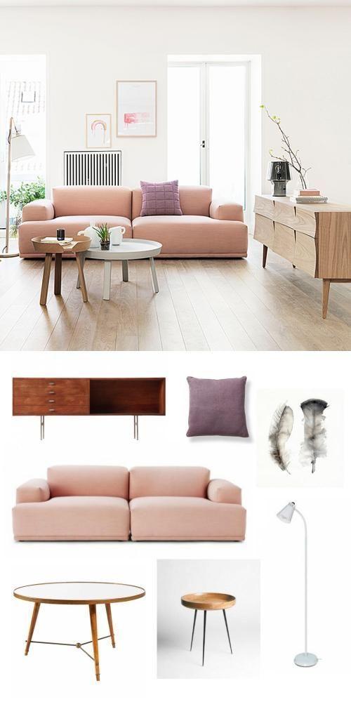 blush colored sofa