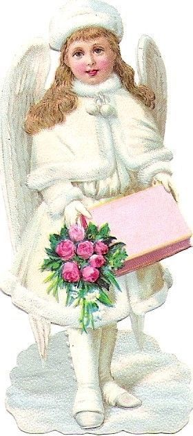 Oblaten Glanzbild scrap die cut  Winter Engel XMAS christmas angel Schnee Rose: