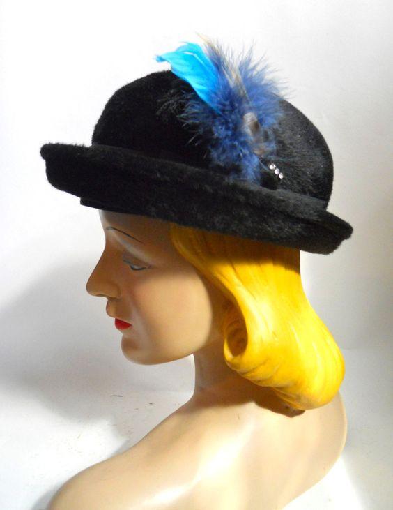 $20 sale Black Felted Fur Mini Fedora with Blue Feathers circa 1940s - Dorothea's Closet Vintage