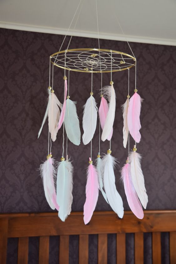 Baby Girl Nursery Mobile Pink Nursery by FeatherDreamcatchers