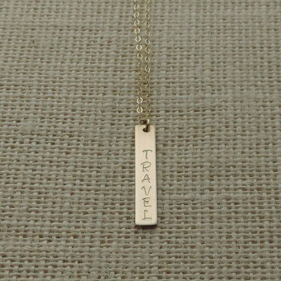 Gold Travel Necklace, Travel Gold Fill Vertical Necklace, Travel Necklace, Hand Stamped Bar Necklace, Journey Necklace #travel #beyoujewelry