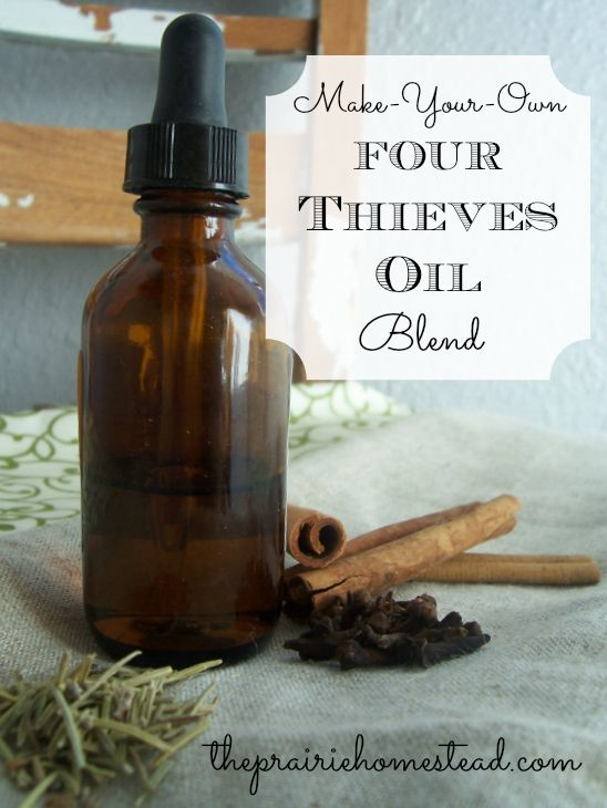 Four Thieves Oil - dilute it, then rub it on the soles of your feet to combat colds & flus and to boost your immune system.