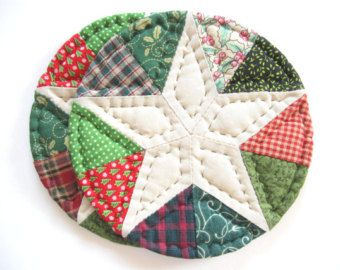 MIniature Quilted Table Topper Mat Scrappy Patchwork by dlf724