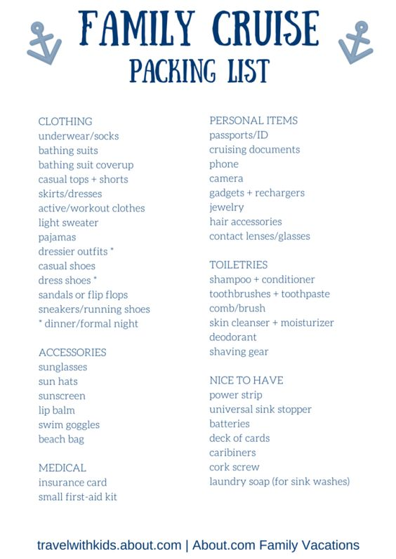 Free Printable Packing List for Family Cruise Vacations Cruise - packing checklist template