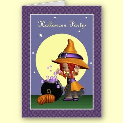Cute Magical Bubbles Witch Halloween Party Invitation $3.80 per invite, less if order more than 10! By XG Designs NYC. #witch #halloweenparty #invitation