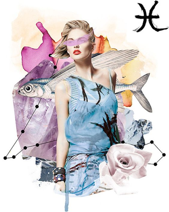 Prince Lauder for Vogue Mexico's Horoscope section - mixed media collage and fashion inspired illustration.:
