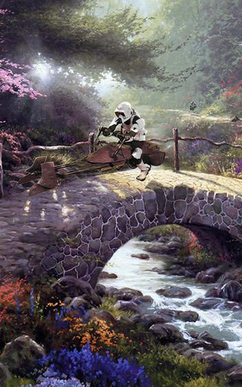 """Artist Jeff Bennett has unleashed the full force of the Dark Side on the Painter of Light's treacly, bucolic world in a new series called """"Wars on Kinkade."""""""