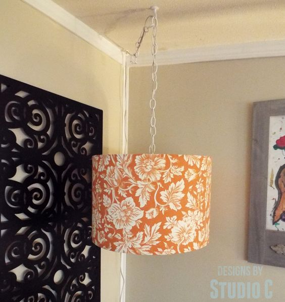 DIY Hanging Light and Lamp Shade perfect for that dark corner