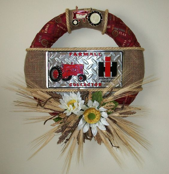 Barbed wire wreath barbed wire and wire on pinterest for International harvester decor