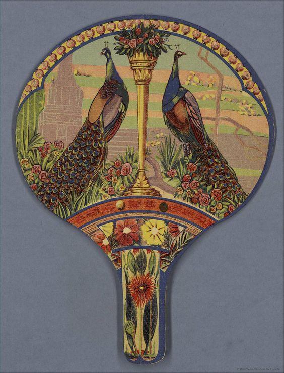 Peacocks Spanish rigid hand fan, 1920-40