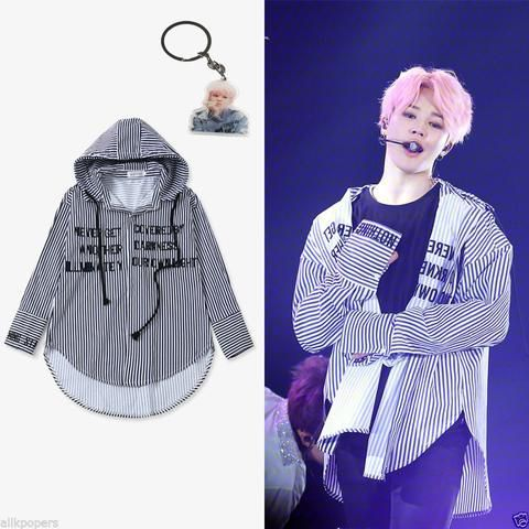 Kpop Apparel Fashion Korean Idol Clothes Bts Jimin Stripe Shirt Bantan Boys Blouse Ropa Kpop Ropa Bts Ropa Coreana