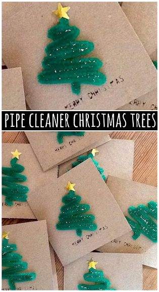 Pipe Cleaner Christmas Tree Craft for Cards by craftymorning: Even the kids could make it! #DIY #Pipe_Cleaner_Christmas_Tree: