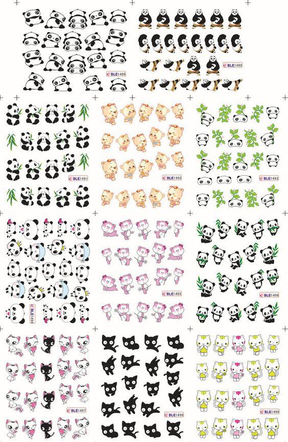BLE1489-1499 Panda / Cats / Bears Water Transfer by chichicho