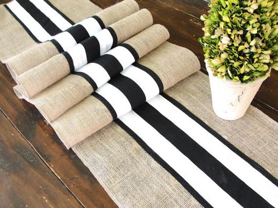 French Stripes  Wedding Table Runner - Wedding Table Decor - Black and White Table Runner French Country