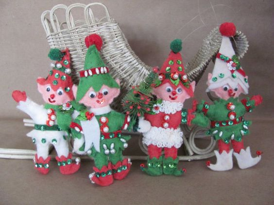 Vintage Christmas Ornaments 1960's Felt Elf by ThirstyOwlVintage
