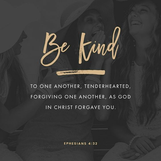 Let all bitterness, and wrath, and anger, and clamour, and evil speaking, be put away from you, with all malice: And be ye kind one to another, tenderhearted, forgiving one another, even as God for Christ's sake hath forgiven you. Ephesians 4:31‭-‬32 KJV http://bible.com/1/eph.4.31-32.KJV: