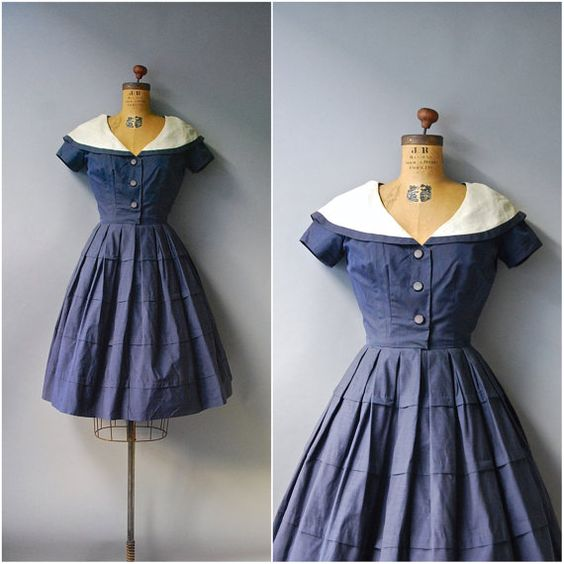 One of the best vintage dresses I've ever seen for sale. But I am not paying their prices. 1950's Navy Sailor Dress//Georgia Bullock by CapsuleVintage