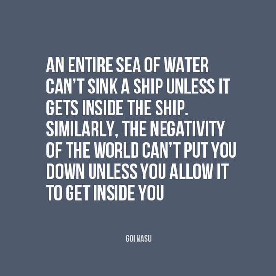 An entire sea of water can't sink a ship unless it gets inside the ship...: