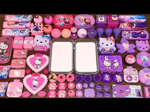 Special Series 34 Purple Vs Pink Elsa And Hello Kitty Mixing Random Things Into Glossy Slime Youtube Glossy Slime Hello Kitty Vs Pink