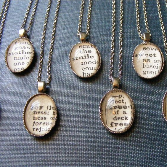 Great idea!!!  Vintage Dictionary Word Necklaces - Customize with the Word of Your Choice - Etsy shop Outoftheblue.