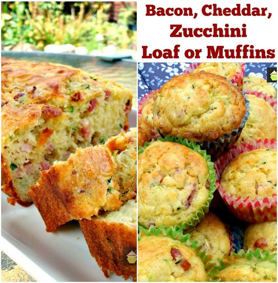 Bacon, Cheddar, Zucchini Loaf Muffins, great for parties, pot lucks ...