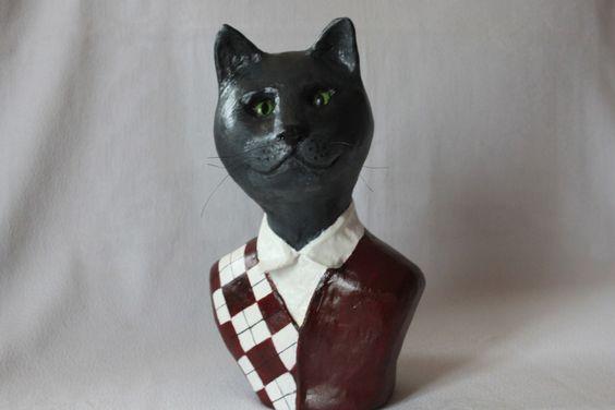 """Buste de chat en papier mâché"""" Léopold"""" : Sculptures, gravures, statues par zelie-poudrederiz"""