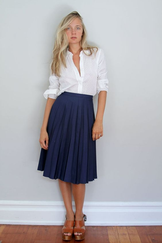 80s Pleated Midi Skirt // Woven Deep Blue High Waist S | Skirts ...
