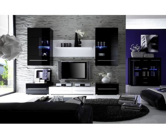 meuble salon design noir laqu meubledesign d co pinterest salons et design. Black Bedroom Furniture Sets. Home Design Ideas