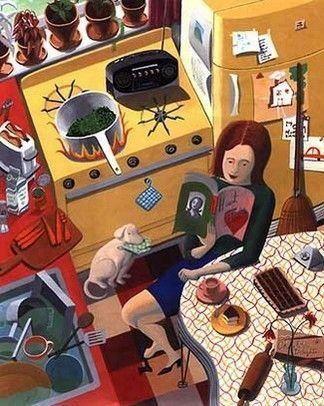 In cucina si legge reading in the kitchen