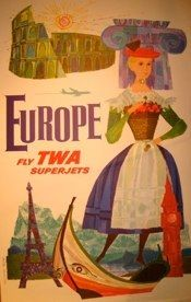 "David Klein <br /> EUROPE-Fly TWA superjets <br /> Affiche-Lithographie <br /> 25 ""x 40"" <br /> Signé <br /> <br />"
