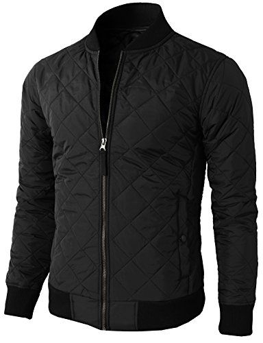 50 H2H Mens Casual Premium Quilted Lightweight Zip up Jacket BLACK