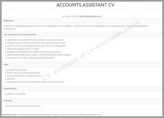 Accounts assistant CV examples Pinterest Cv examples - balance sheet preparation examples