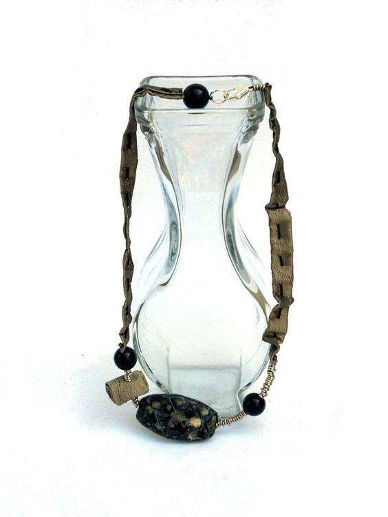 Party fabric  necklace gold and black with beads and by lillicose, $30.27