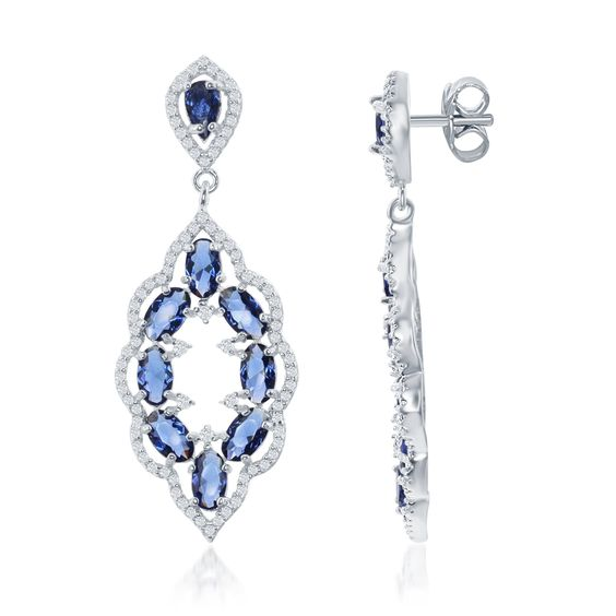 Sterling Silver Sapphire Blue CZ Fancy Dangle Earrings. A super chic and trendy pair of earrings. Crafted of 925 Sterling Silver.