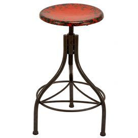 """Perfect pulled up to your kitchen island or pub table, this industrial-chic barstool showcases a swiveling metalwork frame and a weathered red seat.         Product: Barstool  Construction Material: Metal  Color: Red and black  Features: Adjusts to 35"""" H Dimensions:  28-35"""" H x 17"""" Diameter"""