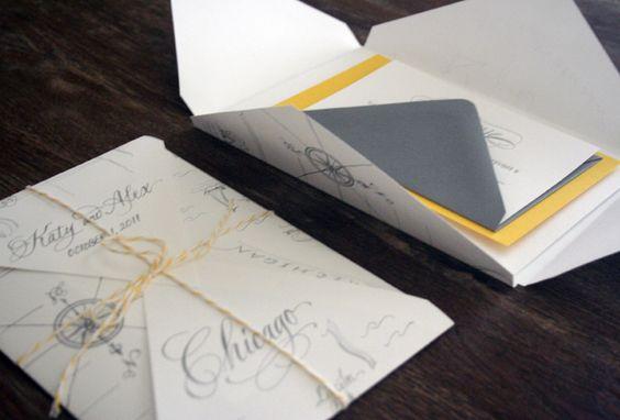 Yellow-Gray-Elegant-Letterpress-Wedding-Invitations-Map-Open