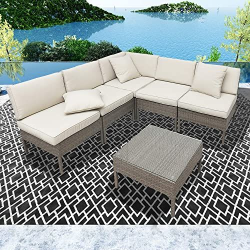 The Lokatse Home 6 Pieces All Weather Rattan Patio Sectional Sofa Set Wicker Outdoor Furniture 3 Pillows Coffee Table Beige Online Shopping Prettytrendyfash In 2020 Patio Sectional Stylish Outdoor Furniture Outdoor Wicker Patio Furniture