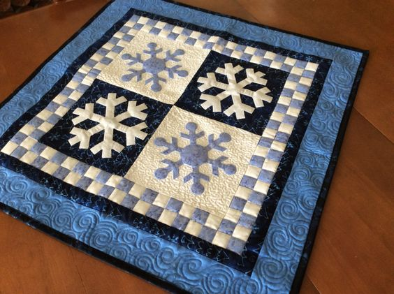 Snowflake table runner, quilted winter label topper, blue and white quilted table decor, wall hanging, applique snowflake wall decor by SimplyQuiltingbyBarb on Etsy