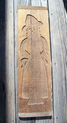 """Antique Large Wood Cookie Mold, 33"""" Springerle Speculaas Mold, Aged Patina Nails"""